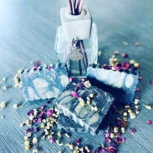 Beautiful soap swirled with deep purple and cream, puréed blackberries and goat milk for moisture and nutrients topped with vanilla and orange oils for a divine scent