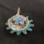 Clear bead with blue flower Resize close up